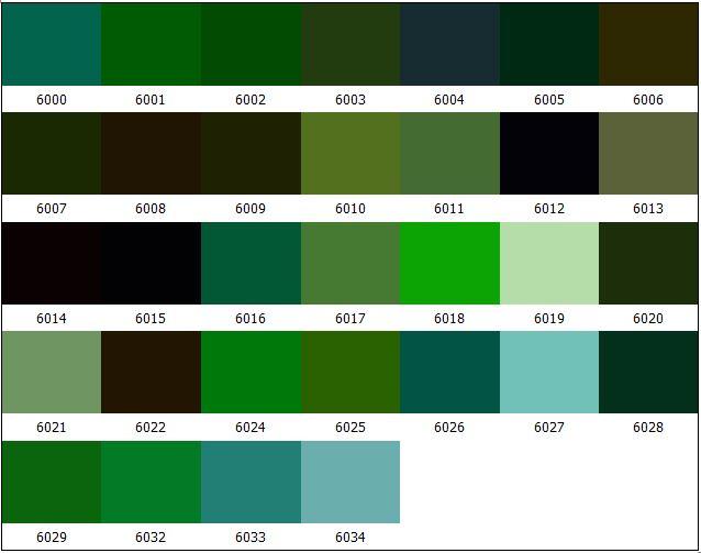 Цвет по ral зеленый